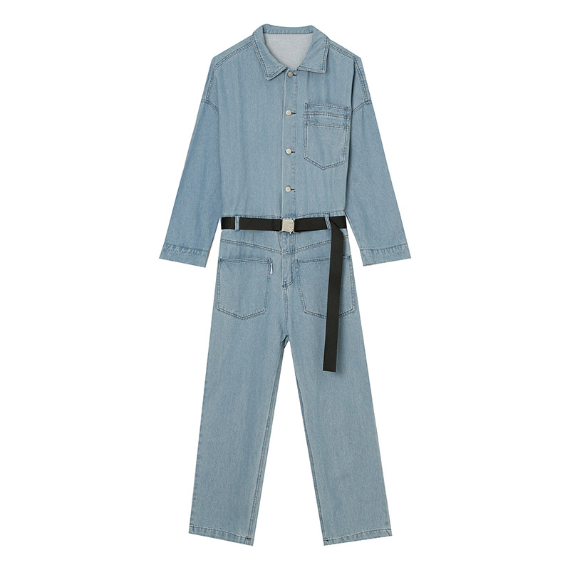 Mcikkny Men`s Loose Casual Bib Overalls With Belt Multi Pockets Jeans Jumpsuit For Male Hip Hop Size M-XL (1)