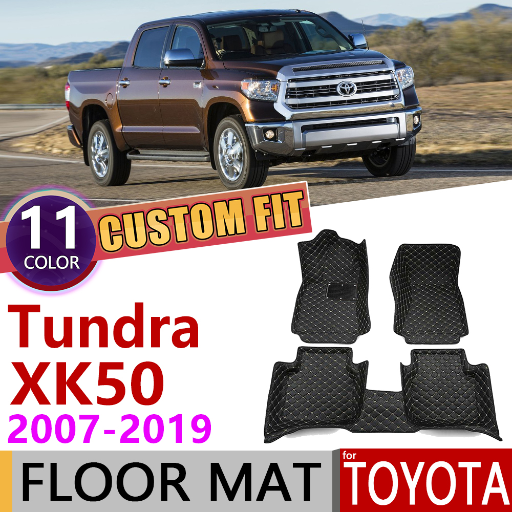 Custom Leather Car Floor Mats For Toyota Tundra XK50 XK 50 2007~2019 5Seats Foot Pad Carpet Accessories 2008 2009 2010 2015 2018