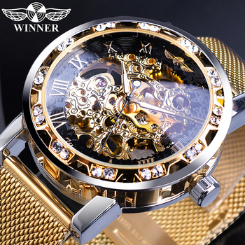 цена на Winner Golden Watches Men Skeleton Mechanical Watch Crystal Mesh Slim Stainless Steel Band Top Brand Luxury Hand Wind Wristwatch
