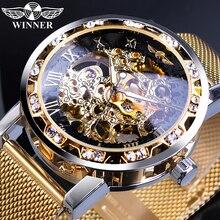 Winner Golden montres hommes squelette mécanique montre cristal maille mince en acier inoxydable bande Top marque luxe main vent montre-bracelet