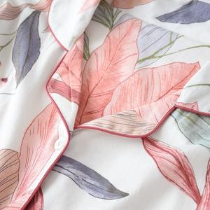Image 5 - ملابس نوم نسائية بأكمام طويلة لفصل الخريف 100% طقم بيجاما محاكة من القطن بدوره إلى أسفل الياقة يترك الطباعة بيجامات ملابس النوم للاستلقاء