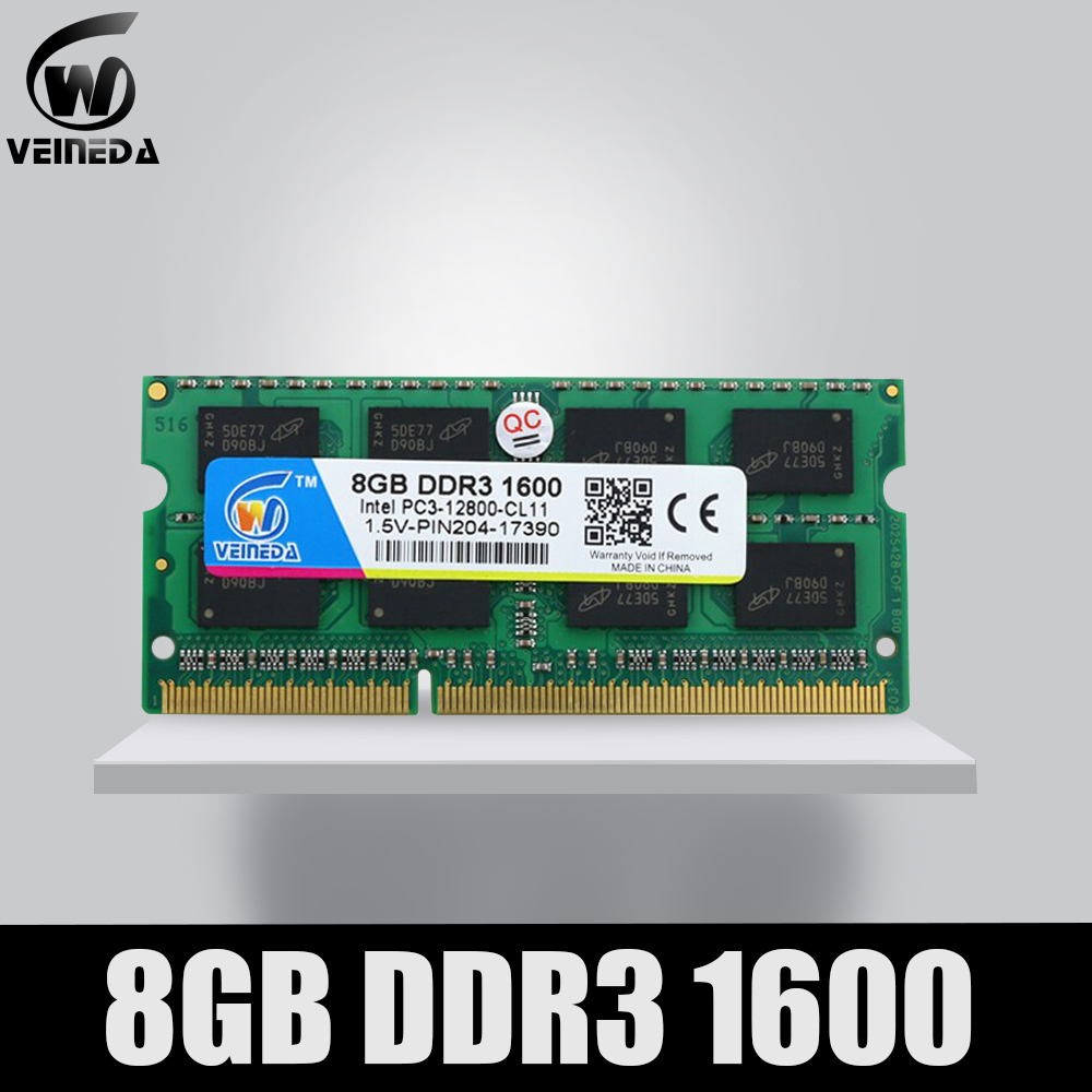 VEINEDA DDR3 4gb 8gb 1600NHz PC3-12800 So-dimm Ram Compatible Ddr3 1333 PC3-10600 Ddr 3 204pin 1.5V For AMD Intel Laptop