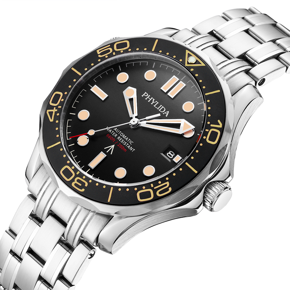 PHYLIDA Black Dial MIYOTA or PT5000 Automatic Watch DIVER NTTD Style Sapphire Crystal Solid Bracelet Waterproof 200M 3