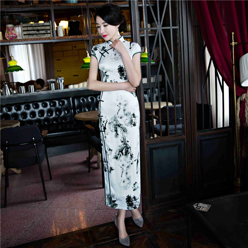 2019 Spring And Summer New Style Double Layer Long Imitated Silk Fabric Daily Life Improved Evening Dress Cheongsam Dress Chines