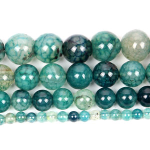 Bracelet-Strand Loose-Beads Jewelry Making Cracked Agates Natural-Stone Teal Dragon Veins