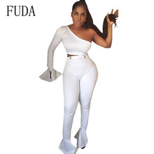 FUDA Best Selling Trumpet Sleeve Stitching Two Pieces Women Bodycon Female Jumpsuits Sexy One Shoulder Long Playsuiys
