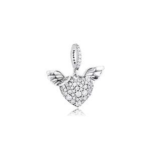 Image 4 - تمهيد الأحجار القلب و أجنحة الملاك الفضة القلائد للنساء موضة أنثى المختنق قلادة 925 فضة مجوهرات سلسلة فتاة