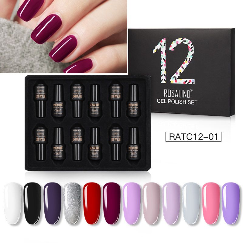 ROSALIND Gel Nail Polish Set Solid Color Nail Kit For Manicure Vernis Semi Permanent 7ML Gel Kit Top And Base All For Manicure 24