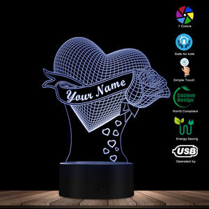 Image 3 - Loving Heart With Rose Personalize Name 3D Effect Optical Illusion Table Lamp Custom Name LED Night Light Valentine Gift For Her