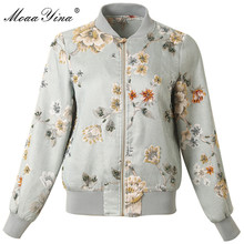MoaaYina High Quality Fashion Designer Jacket jacket Autumn Women Floral Beading Diamond Casual Elegant Short