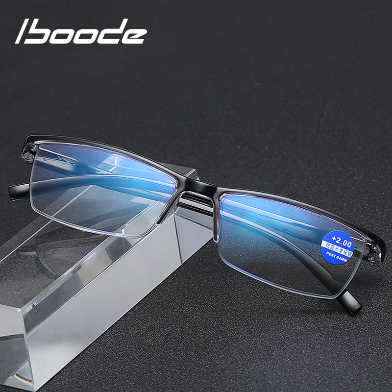 Iboode Half Frame Business Reading Glasses Men Anti Blue Rays Presbyopia Glasses Women Presbyopic +1.0 1.5 2.0 2.5  3.0 3.5 4.0
