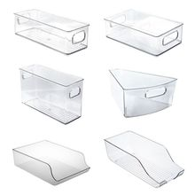 Stackable Plastic Food Storage B ins Refrigerator Organizer With Handles Pantry Fridge Kitchen Cabinets Clear Can Organizer  hot