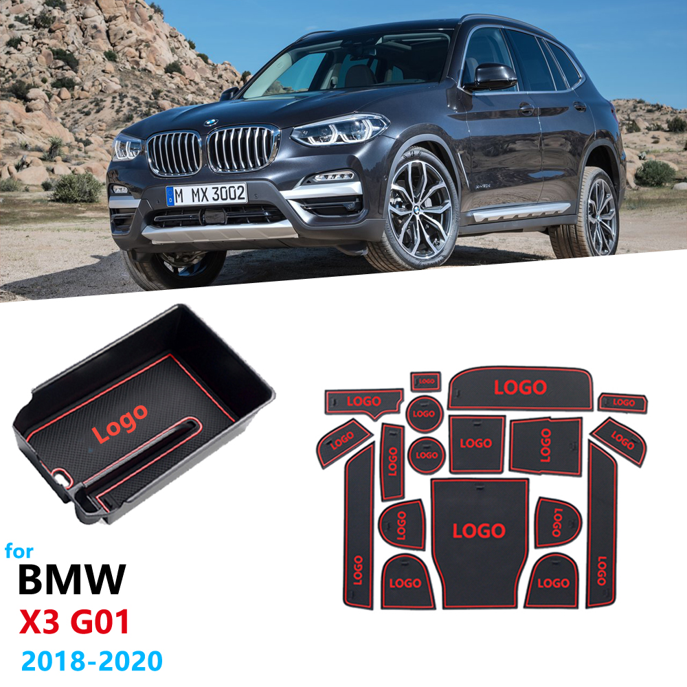 Car <font><b>accessories</b></font> for <font><b>BMW</b></font> <font><b>X3</b></font> G01 <font><b>2018</b></font> 2019 2020 Anti-Slip Rubber Gate Slot Cup Mat Armrest Box Storage Stowing Tidying X3M image