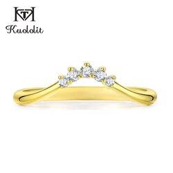 Kuololit 10K Gelb Gold Moissanite Ringe für Frauen Lab Grown Diamant 100% Hand Einstellung Band Ringe Engagement Geschenk Feine schmuck
