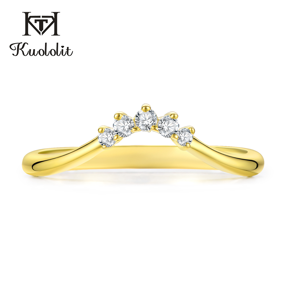 Kuololit 10K Yellow Gold Moissanite Rings For Women Lab Grown Diamond  100% Hand Setting Band Rings Engagement Gift Fine Jewelry
