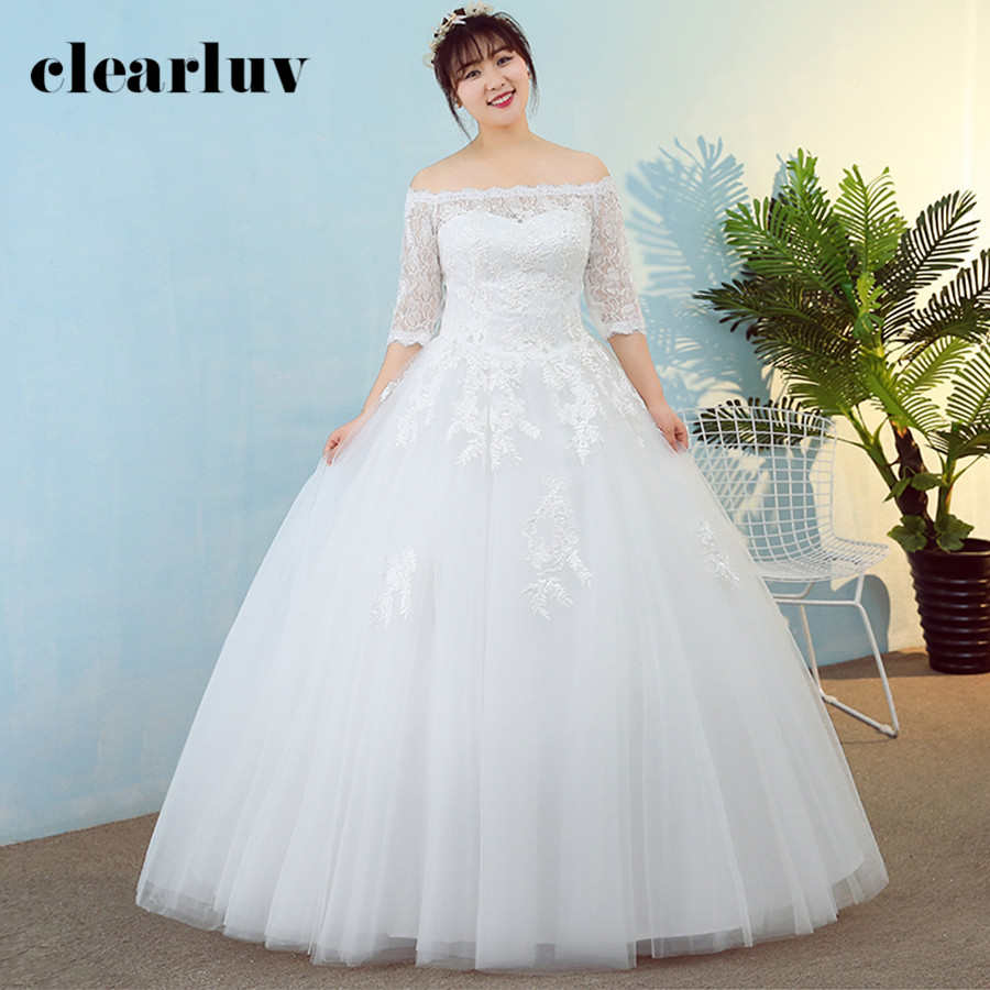 Wedding Dresses 2019 Free Shipping Plus Size Elegant Half Sleeve Long Vestido De Novia Boat Neck Lace Flowers Wedding Gowns T175