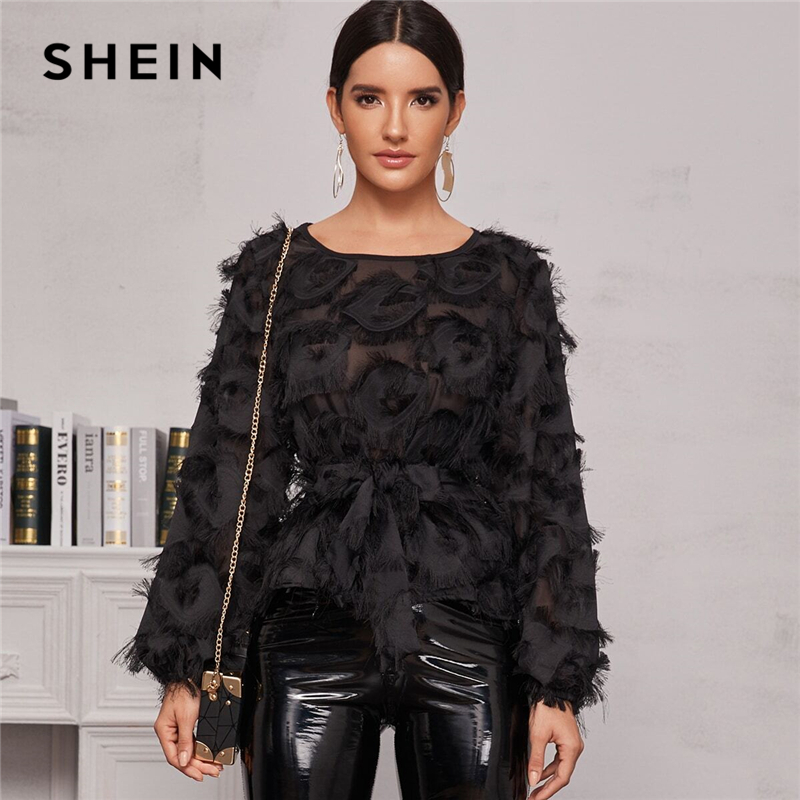 SHEIN Black Round Neck Sheer Elegant Blouse With Belt Women Spring Long Sleeve High Street Ladies Glamorous Blouses And Tops 1