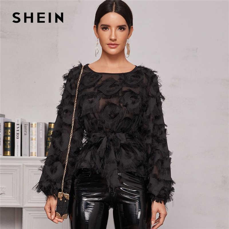 SHEIN Schwarz Rundhals Sheer Elegante Bluse Mit Gürtel Frauen Frühling Langarm High Street Damen Glamorous Blusen Und Tops
