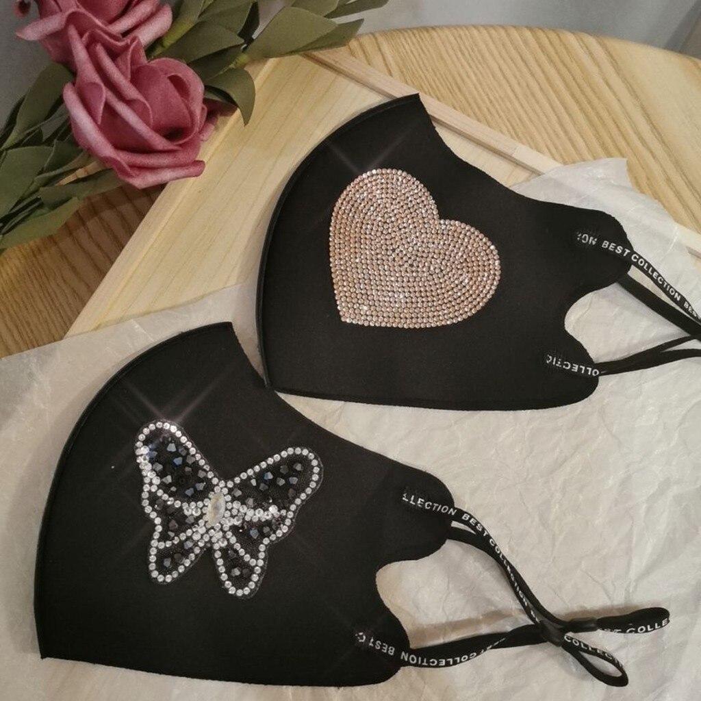 Смываемая маска для лица для взрослых женщин, черные стразы, ледяные хлопковые многоразовые маски для рта, Masker Mascarillas de Tela Lavable Mondmasker