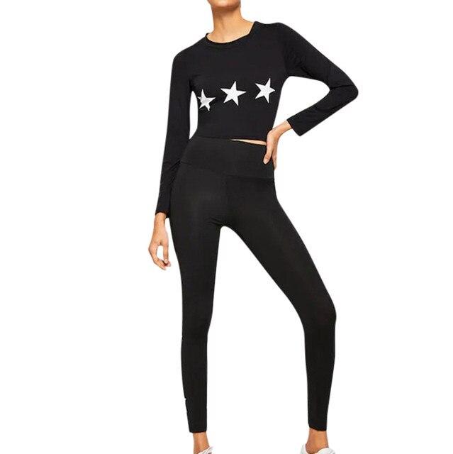 Wanita Mulus Yoga Set Tinggi Pinggang Gym Bintang Legging Kaos Setelan Lengan Panjang Kebugaran Latihan Olahraga Berjalan Tipis Yoga Set Aliexpress