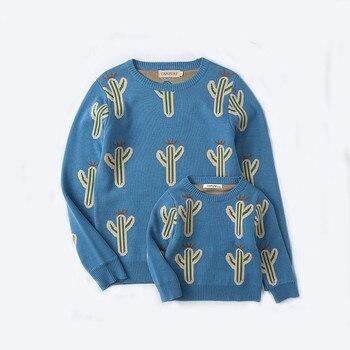 Ropa a juego de la familia Otoño Invierno algodón Cactus estampado cálido padre-niño suéter cárdigan mamá y yo ropa