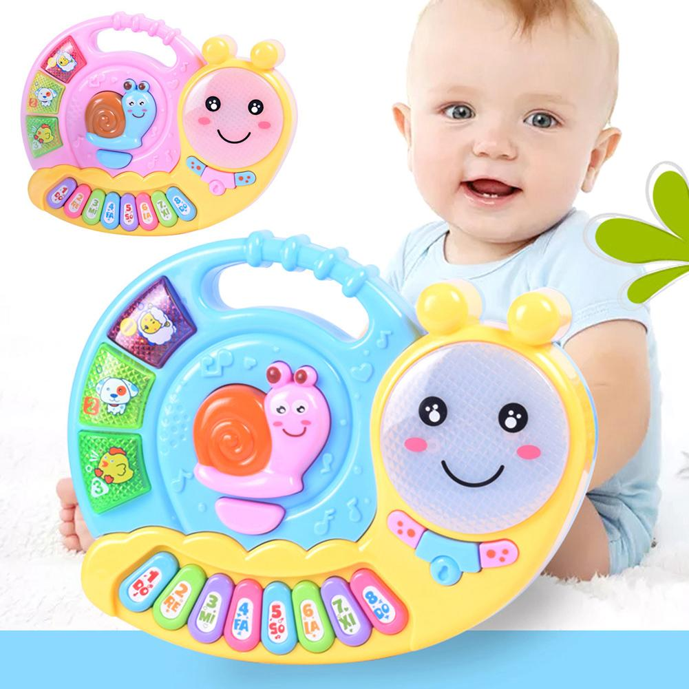 Snail Shaped LED Animal Sound Music Note Electronic Piano Education Baby Toy