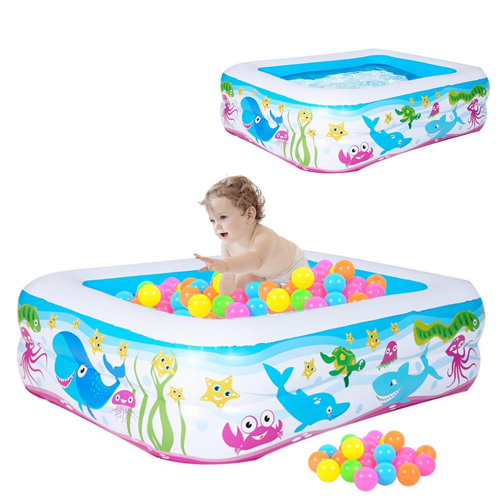 1.2M Baby Inflatable Swimming Pool Cartoon Printing Ocean Ball Pool Baby Bath Tub Infant Piscina PVC Water Playing Bathing Pool