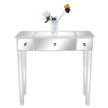 Flip Glass Mirrored Makeup Table Dressing Desk Dresser Anti-Scratch and Rust-Free Easy Assemble Clean[US-Stock] 1