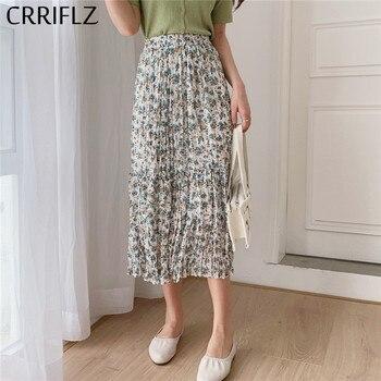 CRRIFLZ New Fashion Floral Skirt Women Summer Casual A-line High Waist Midi Skirt plaid a line midi skirt