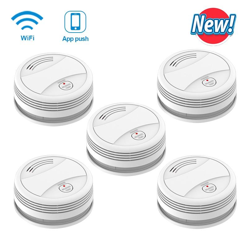 SM05W 5pcs/Lot Wifi Smoke Detector Fire Alarm tuya rookmelder Wireless sensor Protection Fire Smoke fire alarm system
