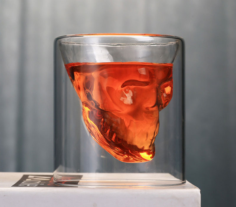 Creative Skull Head Double Wine Glass Mug Crystal Beer Whiskey Shot Double Glass Cup Vodka Drinking Bar Club Wine Glass Bottle