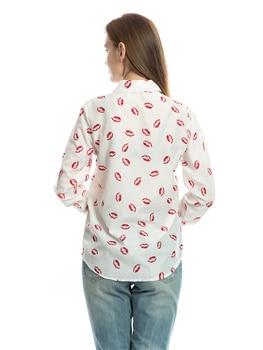 2020 new women's casual fashion shirt lapel long sleeve lip printed plaid bottoming shirt chiffon shirt 2