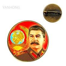 Большая бронзовая брошь Сталина детский значок серповидная с