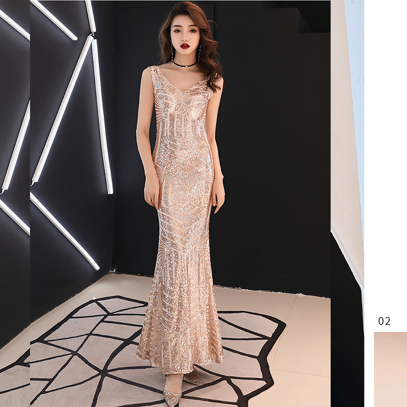 Evening     Dress   Sleeveless Sequin Women Party   Dresses   2019 Floor Length Elegant Robe De Soiree V-neck Formal   Evening   Gowns F208