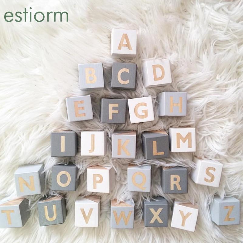 Большие деревянные кубики алфавита 5x5 см, деревянные квадратные большие английские блоки ABC, Обучающие игрушки Монтессори для малышей/малыш...