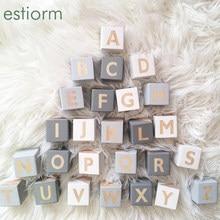 5x5cm grandes cubos de madeira letras do alfabeto, quadrado de madeira grandes blocos inglês abc, crianças/bebê montessori aprendizagem brinquedos educativos