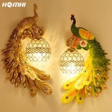 Fixture Decoration Lampshade Wall-Lamp Art-Deco Loft Led-Lights Crystal Peacock Animal