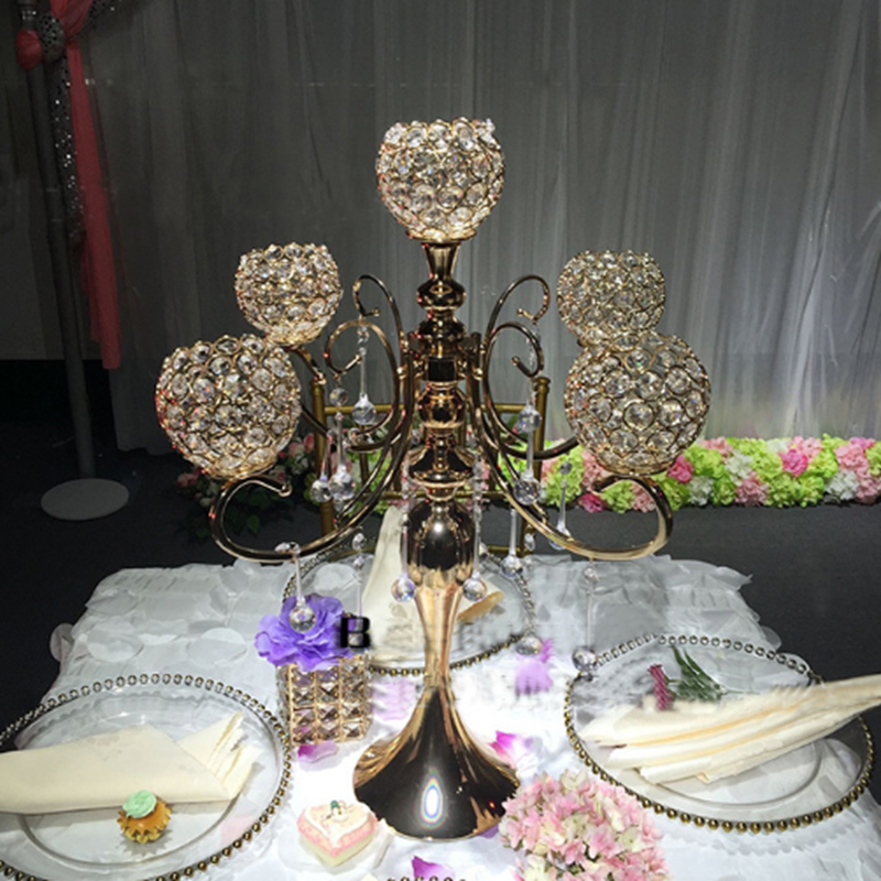 Украшение для свадебного стола по центру 5 рук хрустальный канделябр, держатель для свечей канделябр с Кристальные капли - 2