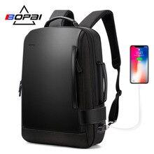 Bopai tamanho expandido mochila do portátil dos homens 15.6 Polegada repelente de água mochila mochila mochila escolar carga usb pacote traseiro