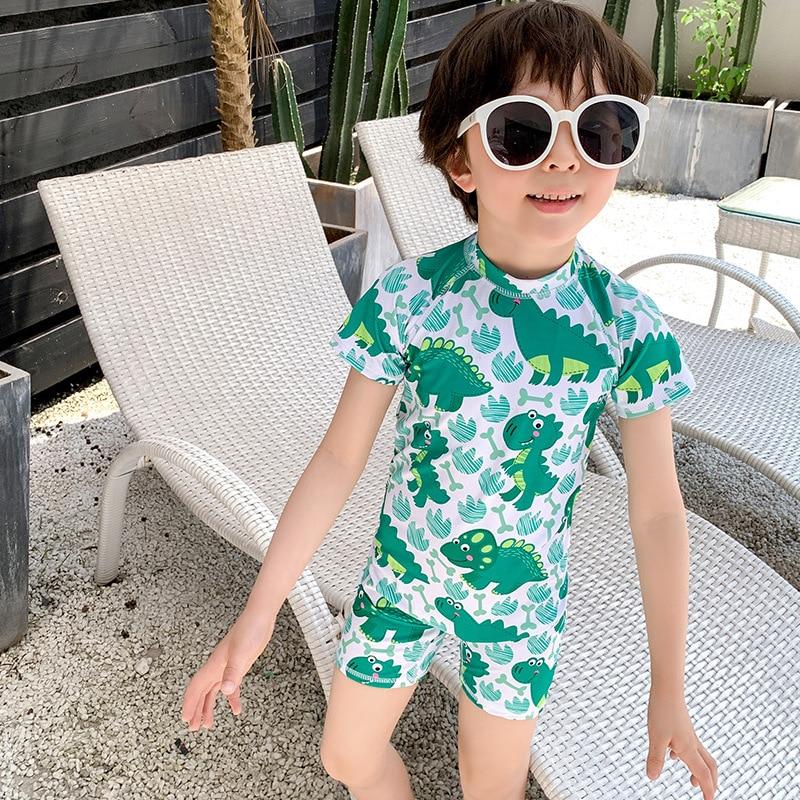 2019 New Style Hot Selling BOY'S Swimsuit INS Korean-style One-piece Ultra-stretch Quick-Dry Children Yin Hua Kuan KID'S Swimwea