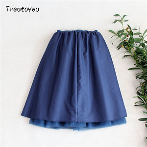 Image 5 - Streetwear 5 couches 65 cm Midi jupe plissée femmes gothique taille haute Tulle jupe patineuse rokjes dames ropa mujer 2019 jupe femme