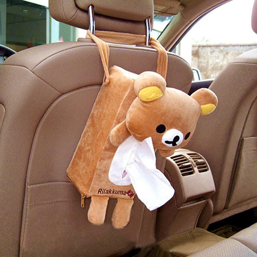 Hanging Easy Bear Cartoon Plush Car Chair Back Hanging Bag Paper Towel Tissue Box Car Cartoon Cute Storage Box