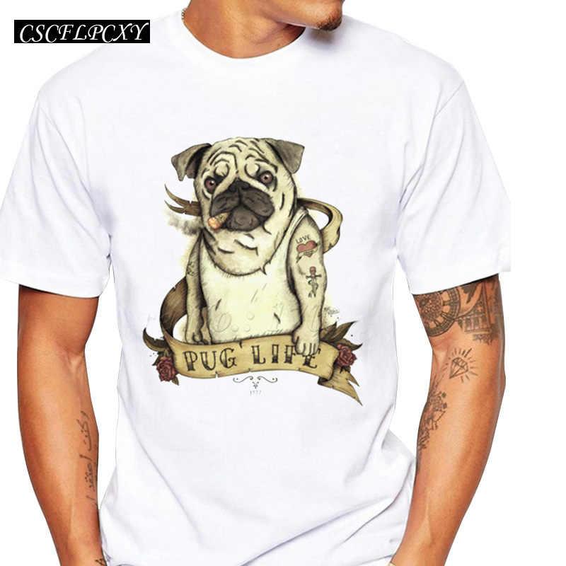 パグライフレトロプリントメンズ tシャツヴィンテージスタイルメンズ半袖カジュアルトップスパグ眼鏡をかけてデザイン動物犬のファッション tシャツ