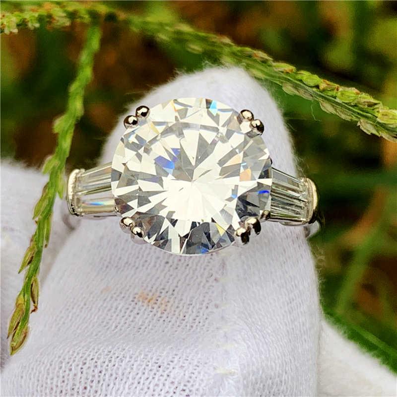 หรูหรา Solitaire แหวนรอบตัด 5CT AAAAA CZ 925 เงินสเตอร์ลิงแหวนหมั้นแหวนผู้หญิงผู้ชายเครื่องประดับ