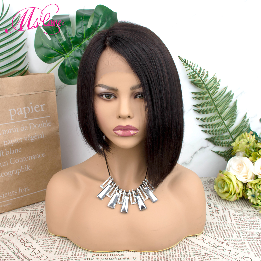 Lace Part Front Human Hair Wigs For Black Women Pixie Cut Straight Wig Pre Plucked Natural Color Brazilian Remy Hair Wig