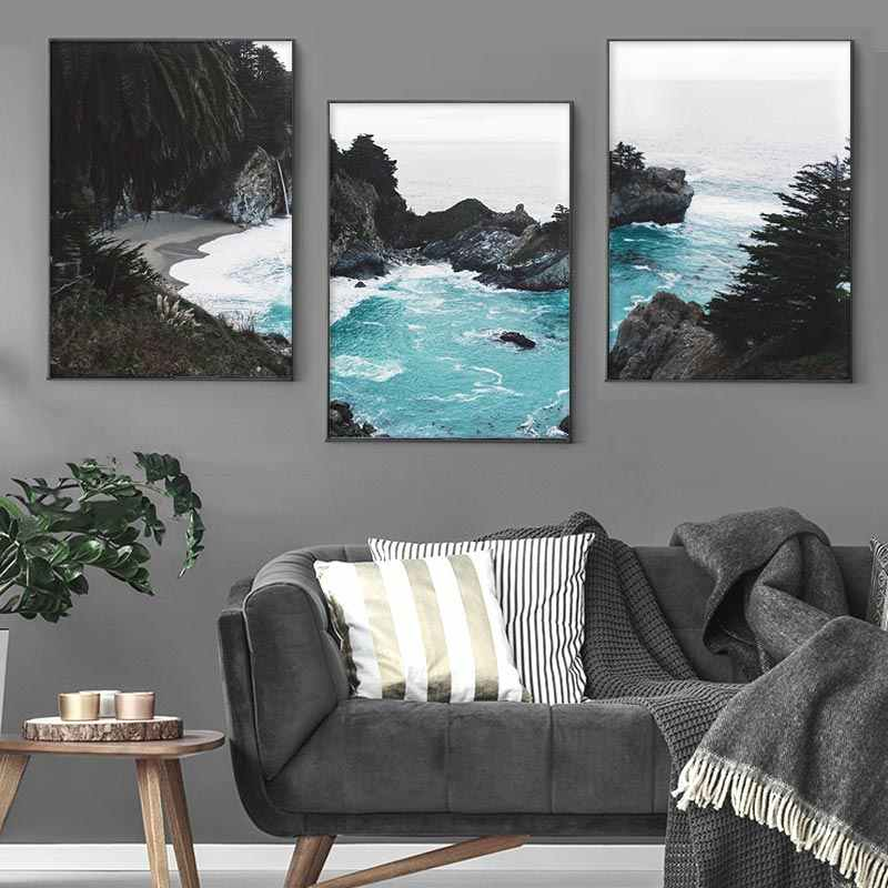 Coastine Ocean Wall Art Print Poster Nature Scenery Scandinavian Nordic Landscape Canvas Painting Pictures for Living Room