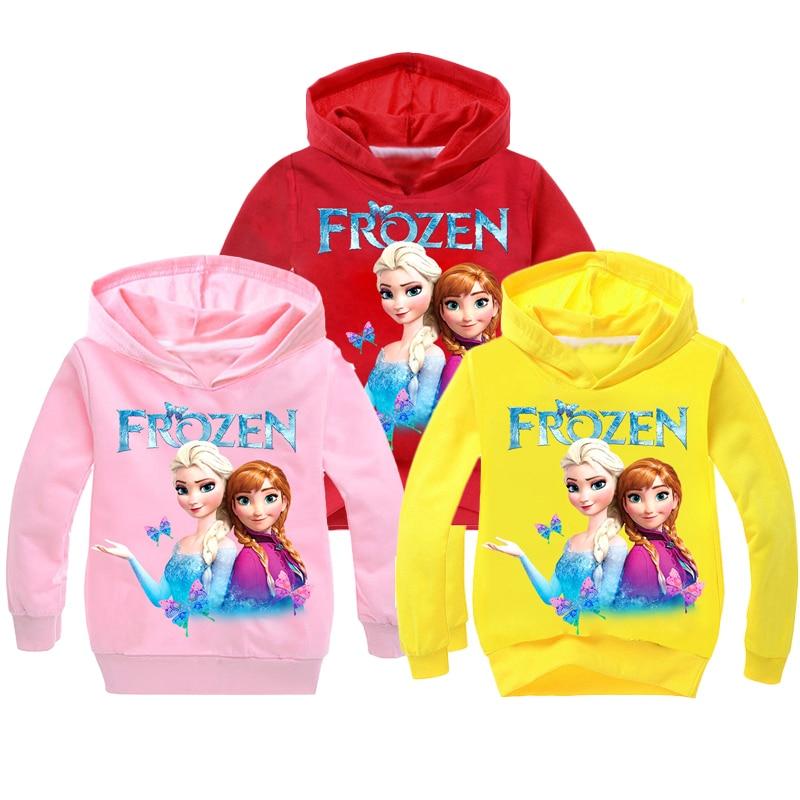 New 2021 Kids Baby Boys Girls Toddlers Frozen 2 Elsa Anna printing Hoodies Cartoon Tracksuit Children Clothing Cute Sweatshirts 1