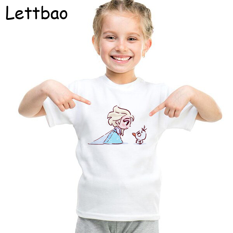 2 TO 12T Children's T-shirt VOGUE Princess And Elf Girls T Shirt Cartoon Funny Casual Kids Clothes Summer Cotton Tshirt For Girl