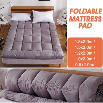 10cm Thick Polyester Mattress Pad Gray Comfortable Topper Cover 10cm Deep Fitted Bed Sheet High Quictly Ergonomic 2020 NEW
