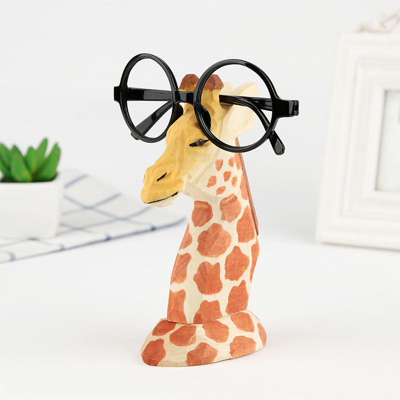 Wood Hand Carved Eyeglass Holder Handmade Nose Giraffe Stand For Office Desk Home Decor Gifts